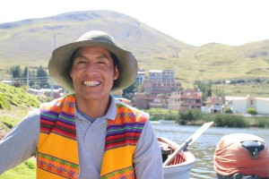 Dora's husband, Nelson Coila Lujano, arrives on the coast of Puno to bring Professor Randy Lewis and his students back to the Uros Islands. (Donovan C Baltich)
