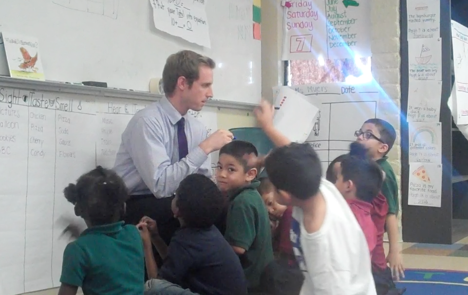 """Jackson interacts with children during his time with """"Teach For America."""""""