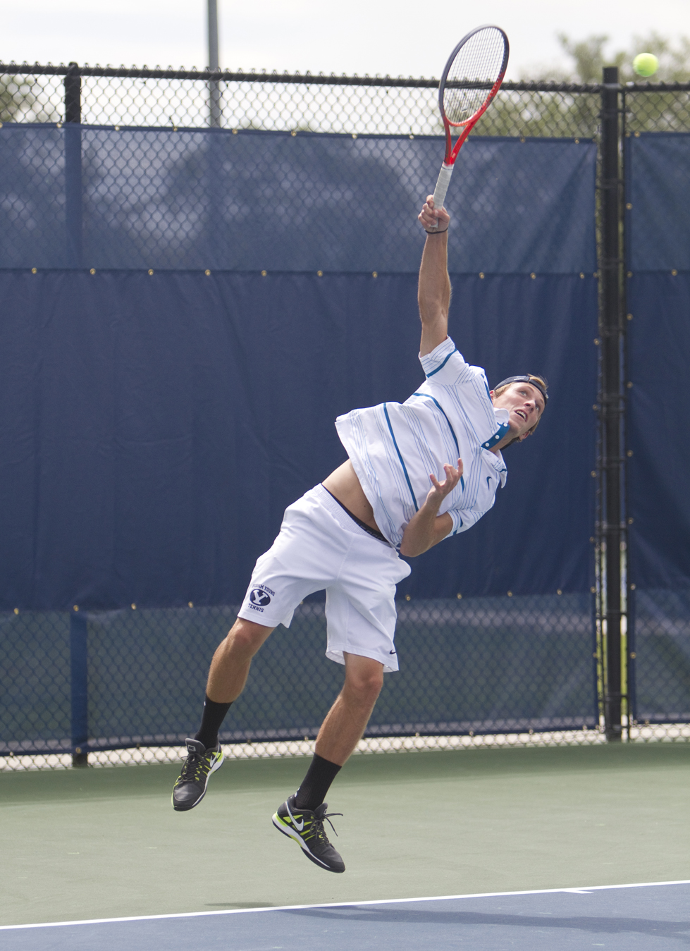 Spencer Smith serves the ball during a match last season. BYU beat Fordham and Columbia over the weekend.