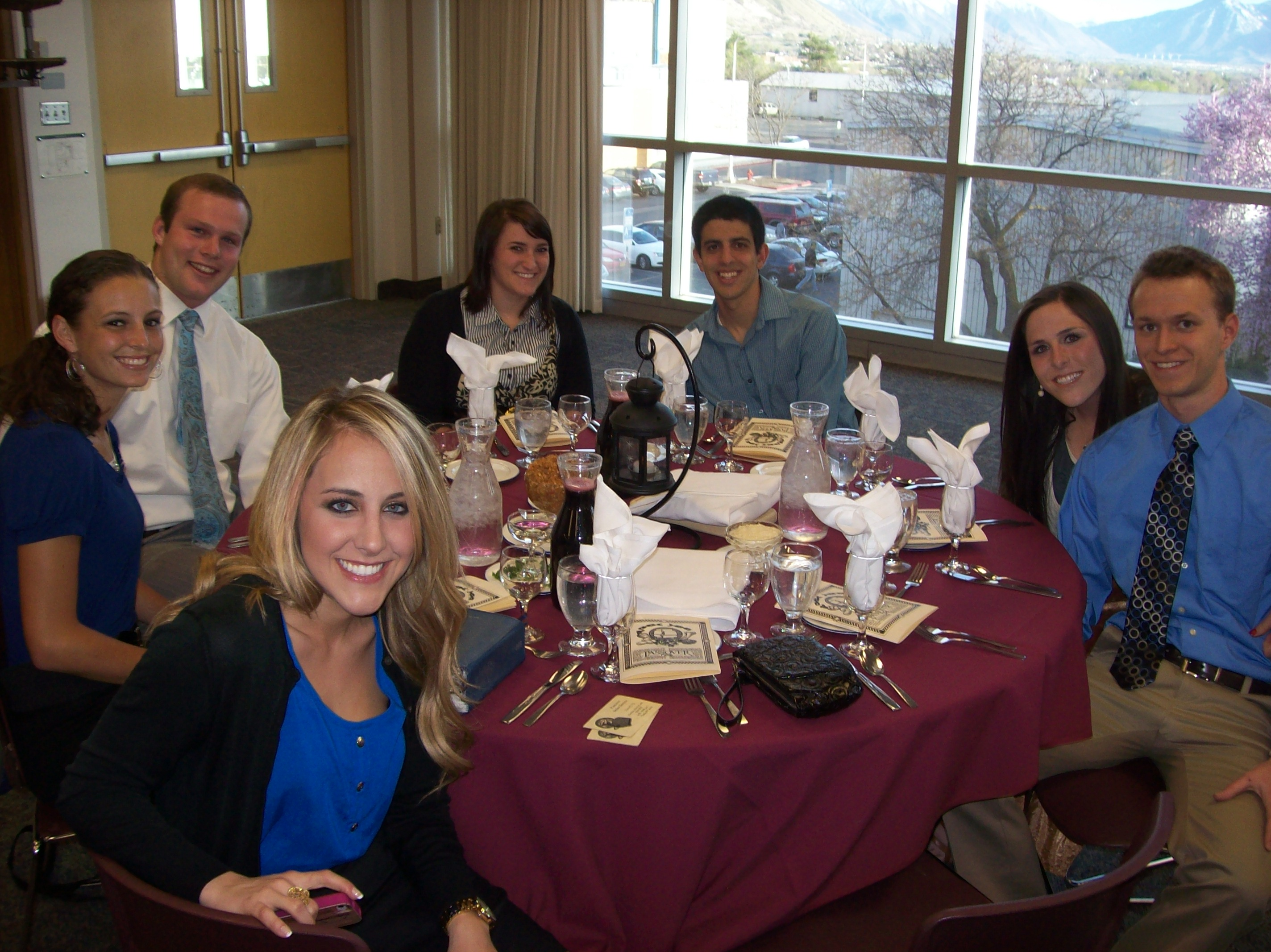 BYU Passover banquet table and guests. Photo complement of Jeffery Chadwick.