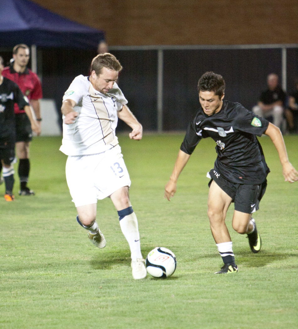 Forward Garrett Losee moves the ball past an opponent during a game last year. Losee, Brian Hale and Colby Bauer will represent BYU men's soccer at the 2013 USL Pro Combine.