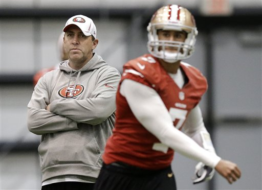 San Francisco 49ers quarterbacks coach Geep Chryst, left, watches as Colin Kaepernick (7) passes during practice on Wednesday, Jan. 30, 2013, in New Orleans. (AP Photo)