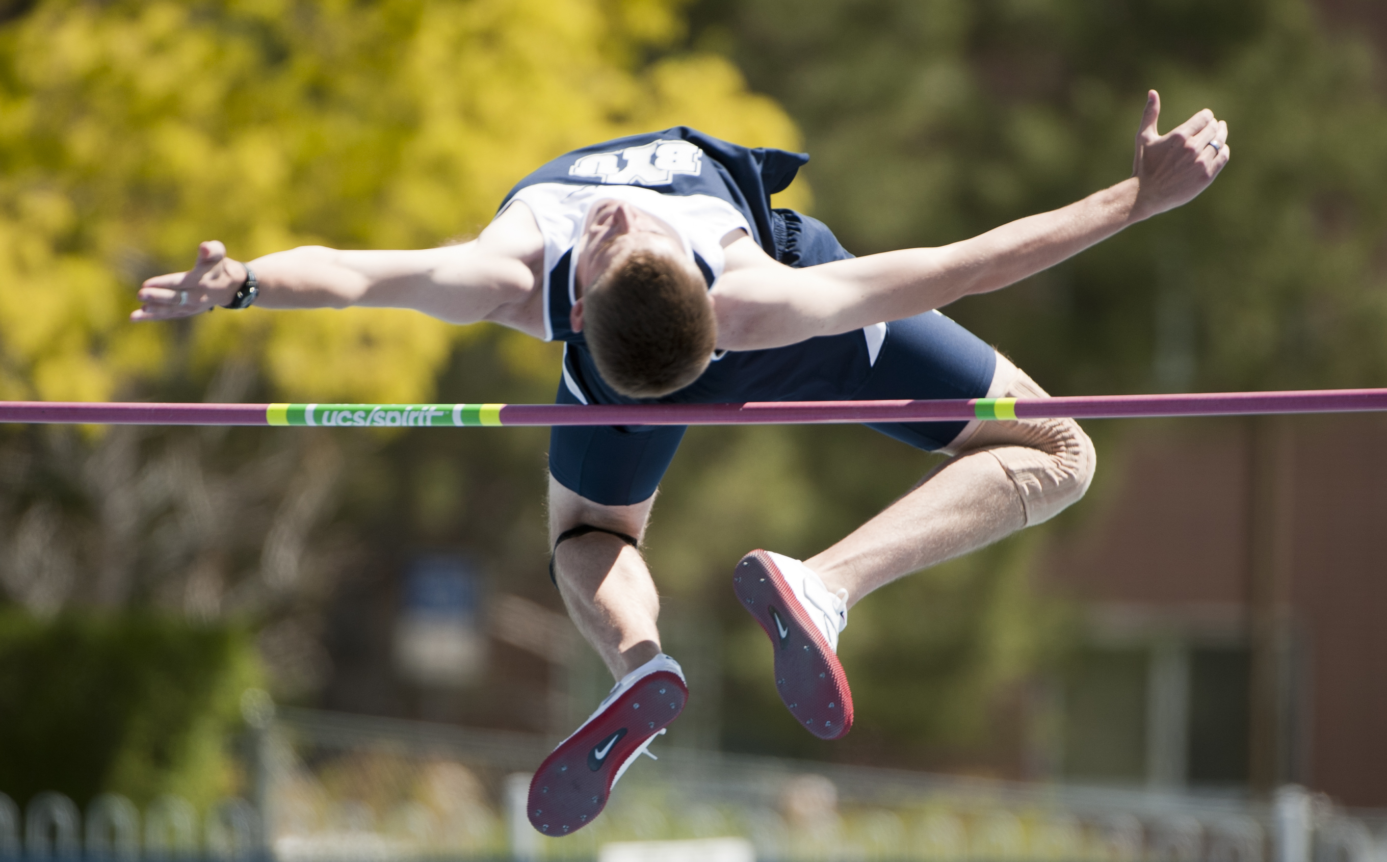 A BYU track and field athlete competes at the Clarence F. Robison Track. Several Cougars broke school and personal records this weekend at UW and Air Force. (Photo by Luke Hansen)