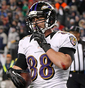 In the regular season, Pitta had 61 catches and seven touchdowns. In the postseason, he's had 10 catches and two touchdowns. (AP Photo)