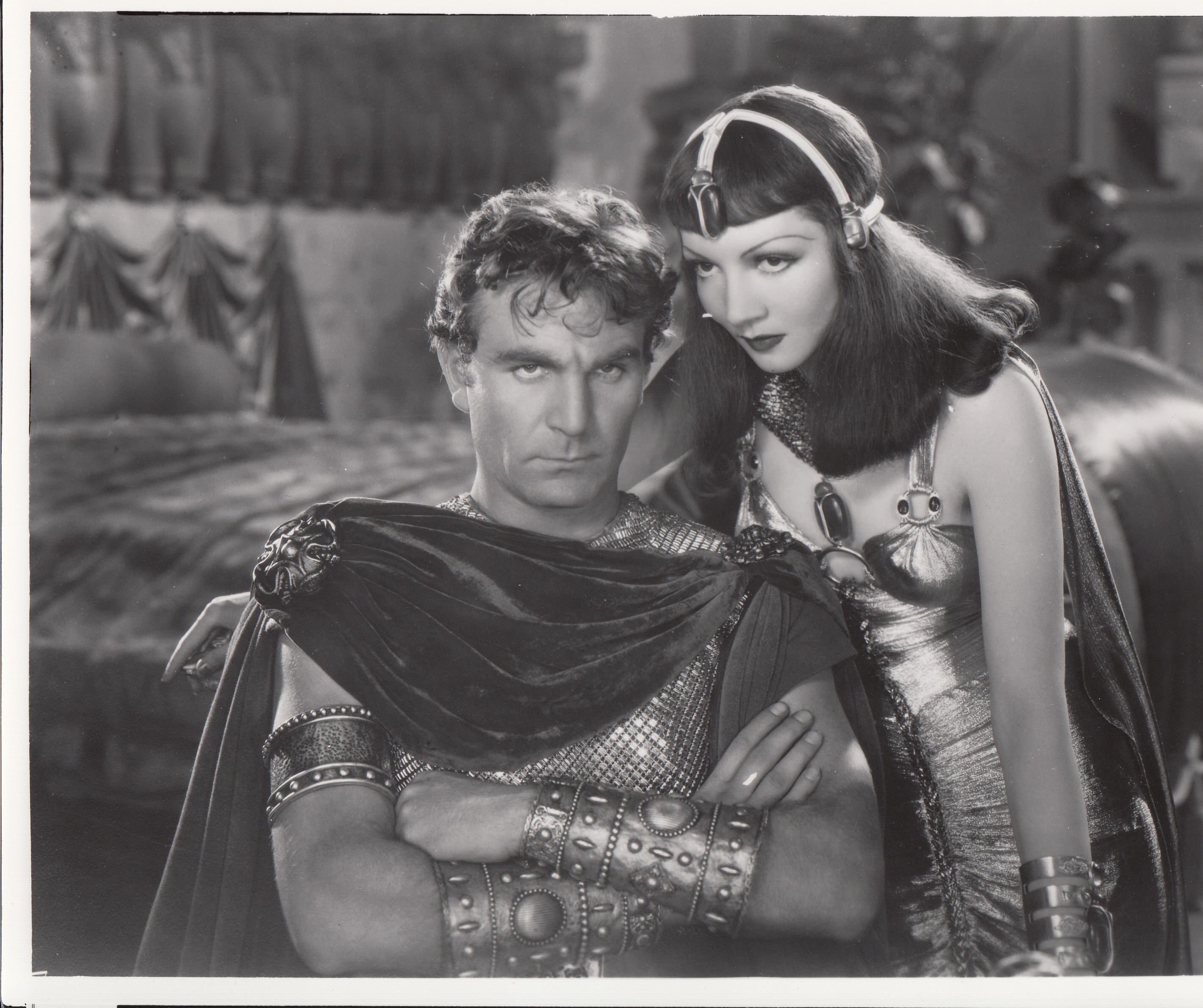 A still from the Cecille B. DeMille Collection of Special Collections shows Claudette Colbert as Cleopatra and Henry Wilcoxon. Courtesy Norman Gillespie.