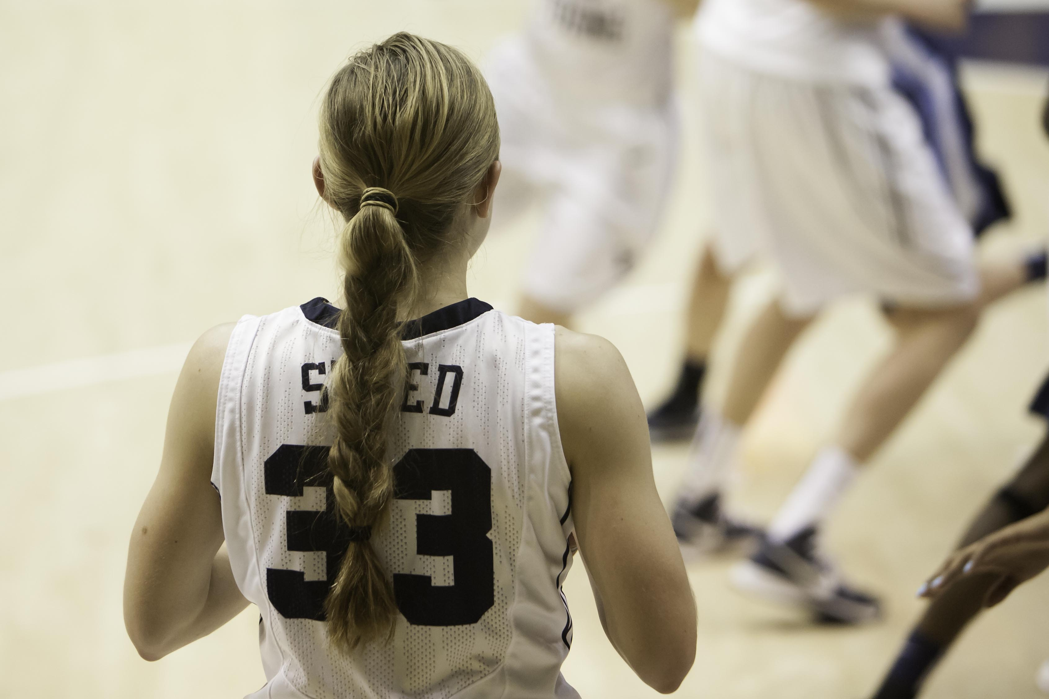 Haley Steed setting up the team in a game against San Diego earlier this season. (Photo by Elliott Miller)