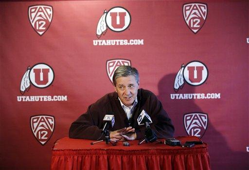 University of Utah Athletic Director Chris Hill announces suspension of Ute Swimming Coach. (AP Photo)