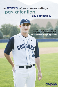 BYU athlete Dillon Robinson raises his voice in support of the Voices of Courage campaign. (Photo courtesy BYU Women's Services and Resources)