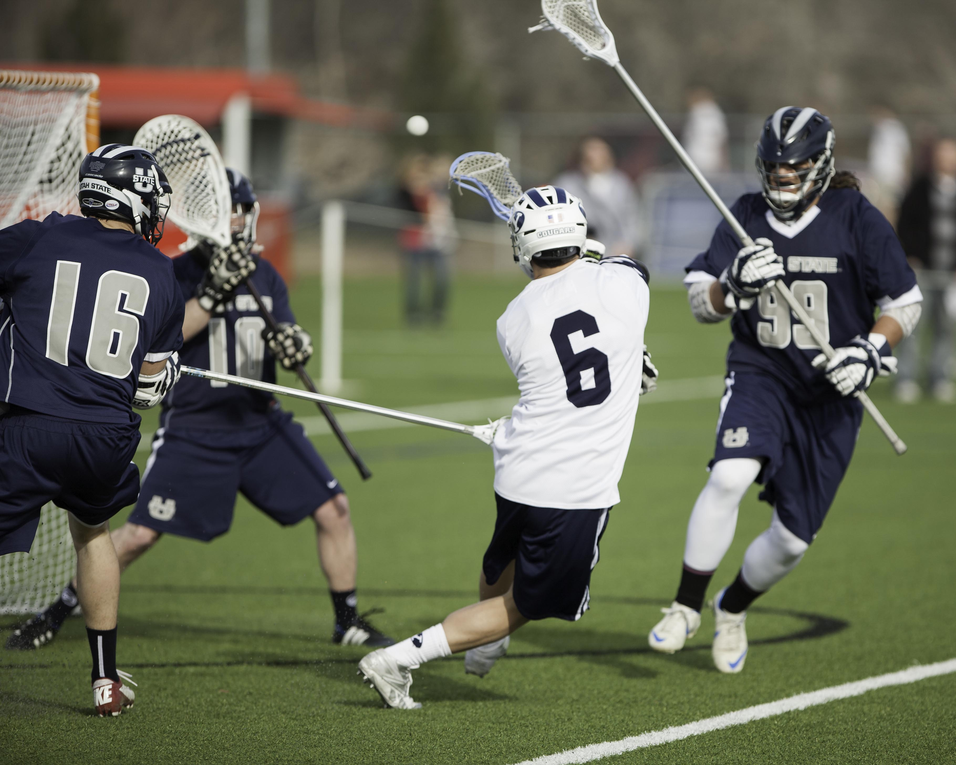 BYU's Mike Fabrizio takes a shot in a game this season. (Photo by Elliott Miller)