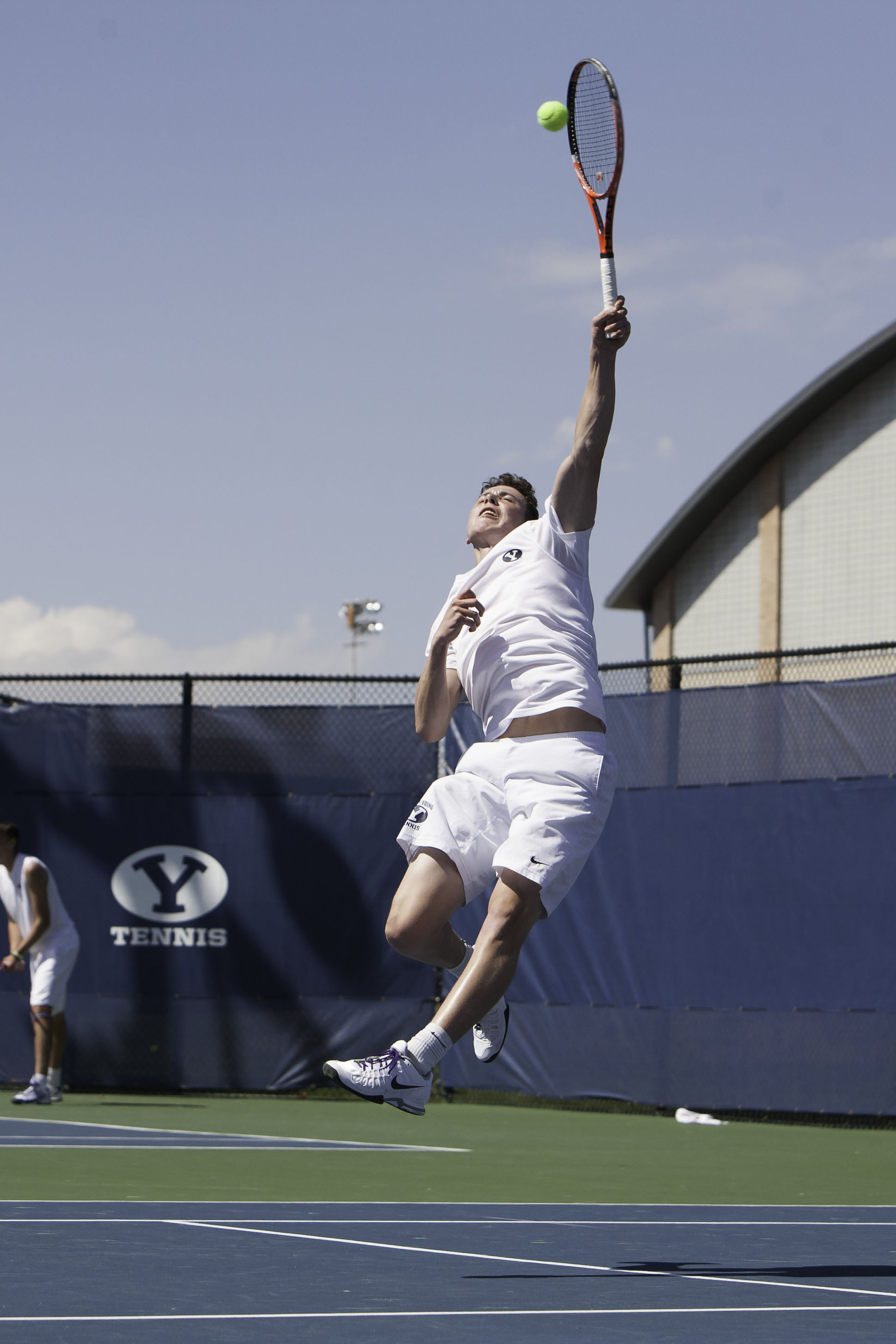 BYU's Francis Sargeant jumps for an overhead shot in Saturday's match against Saint Mary's College.