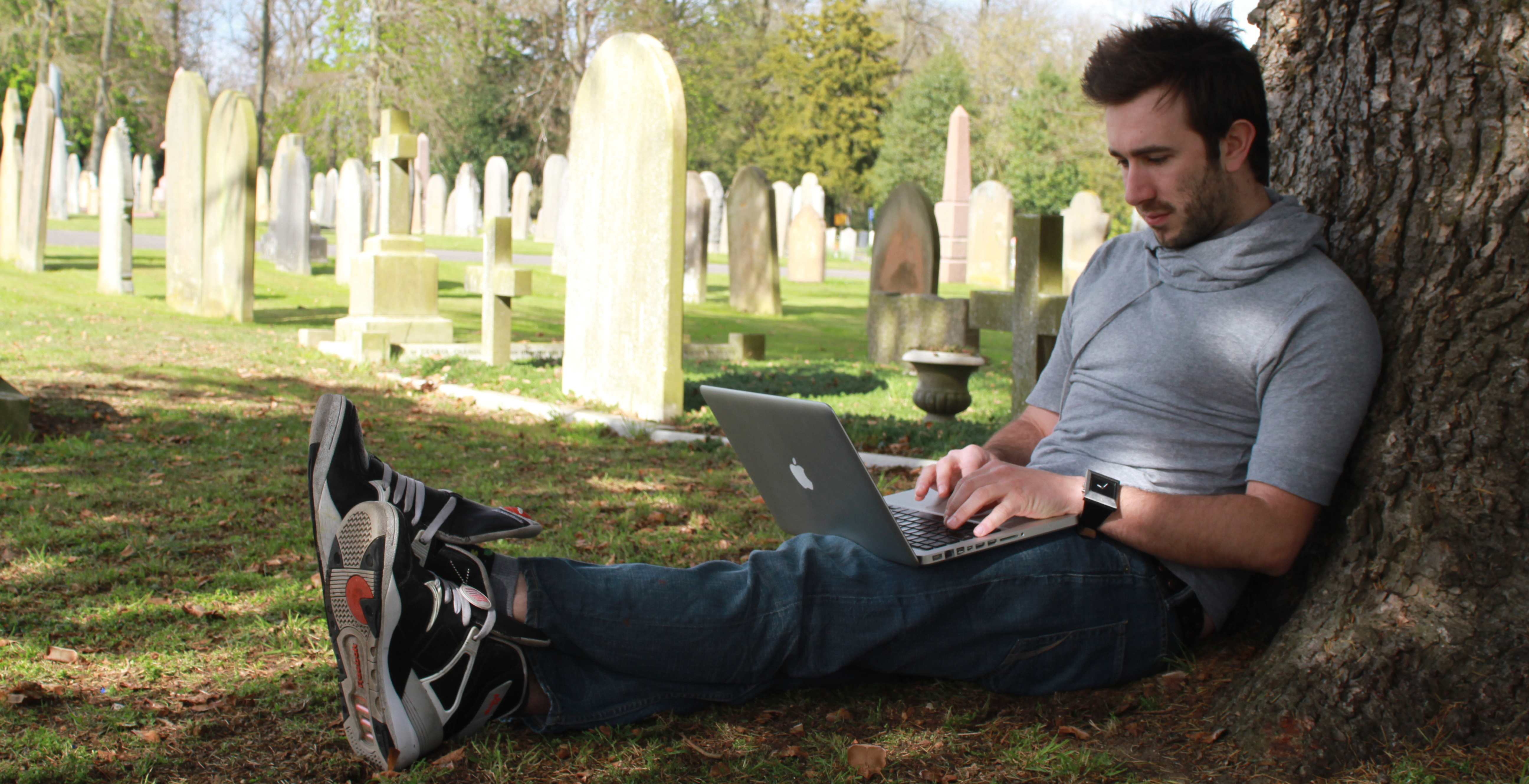 Living users can set up an account with DeadSocial and schedule posts for particular dates after they have died. (Photo by Tugba Tirpan)