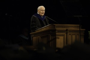 Elder L. Tom Perry of the Quorum of the Twelve counsels 2013 BYU graduates.