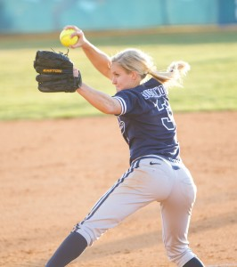 Carly Duckworth pitches to Houston during Friday night's game at Miller Park.