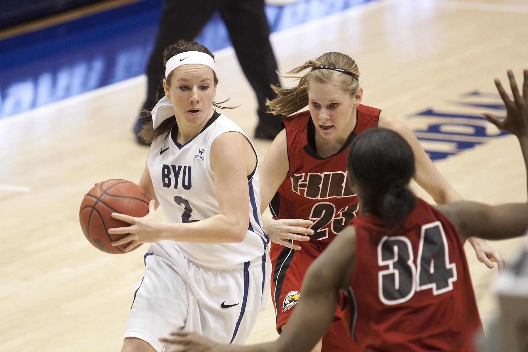 Stephanie Rovetti handles the ball against Southern Utah. Photo courtesy BYU Photo.