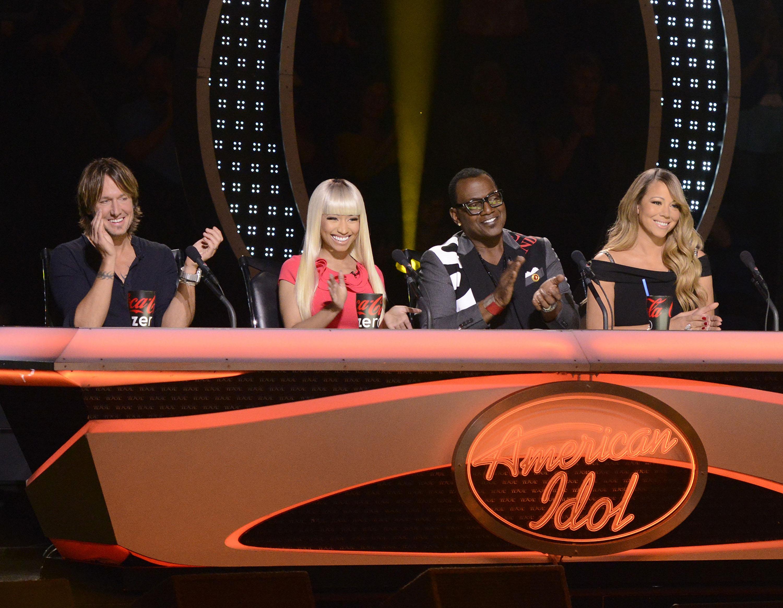 Keith Urban, Nicki Minaj, Randy Jackson and Mariah Carey from the singing competition series, 'American Idol.' (Associated Press)
