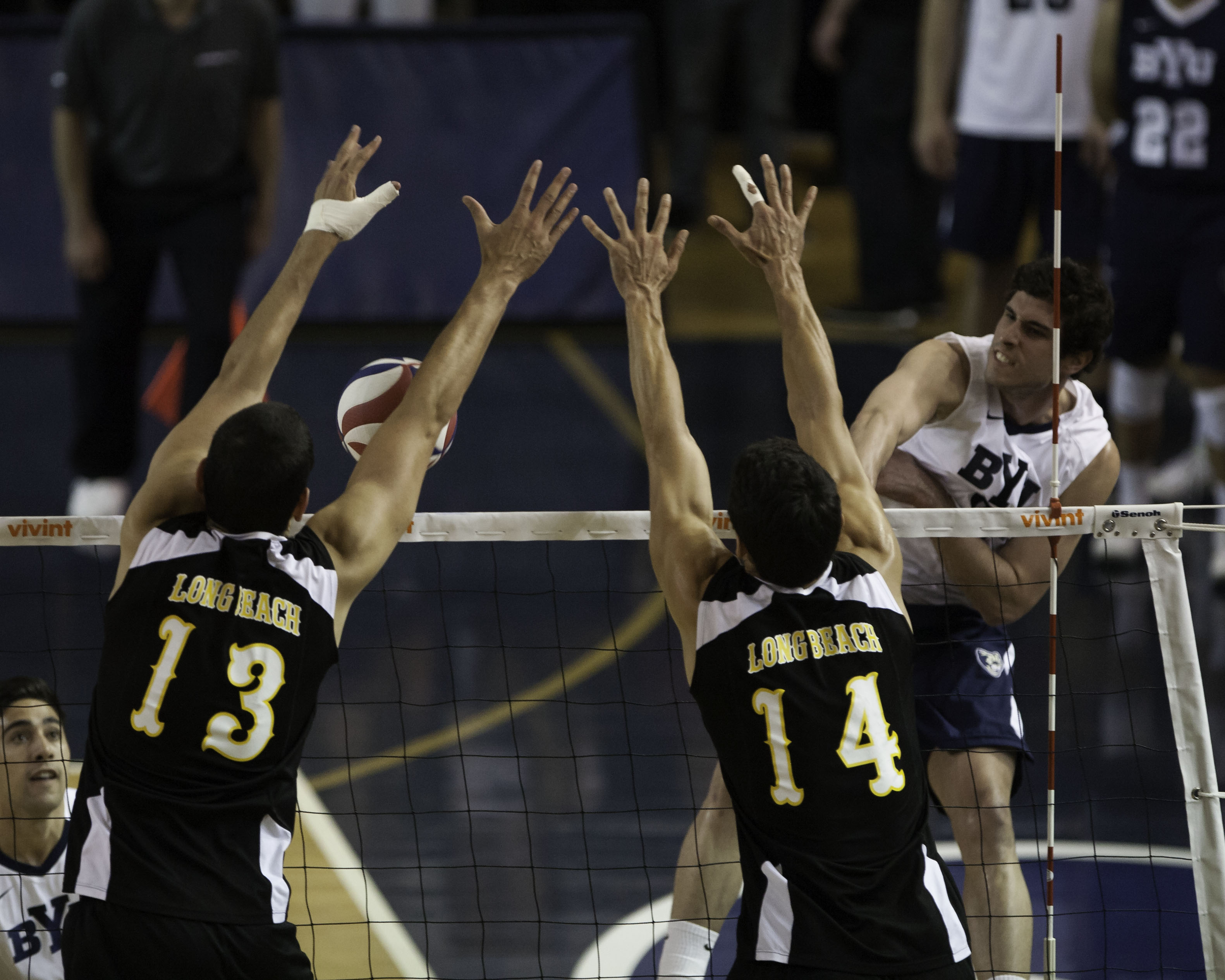 Outside hitter Josue Rivera kills the ball in the conference championship game against Long Beach State. (Photo by Elliott Miller)