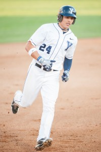 BYU center fielder Jacob Hannemann rounds the bases after hitting a homerun in the fifth inning against UVU on Tuesday at Miller Field. (Photo by Chris Bunker)