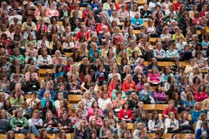 Women's Conference attendees gather in the Marriott Center. (Photo by Chris Bunker)