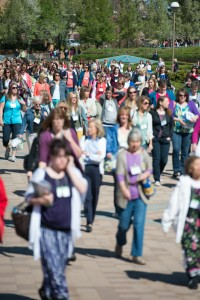 Conference goers cover campus during the two-day Women's Conference. (Photo by Chris Bunker)