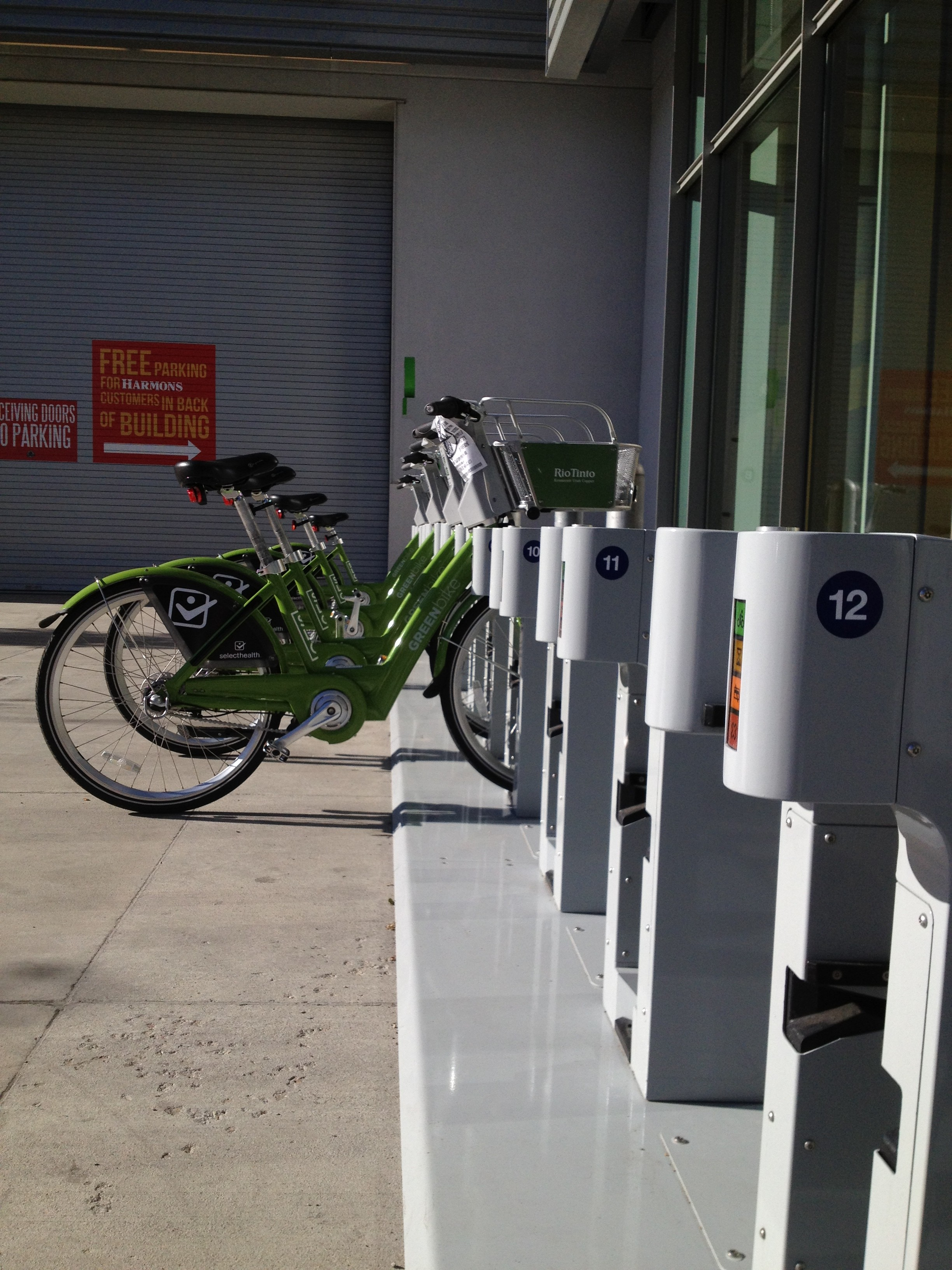 GREENbike share station outside of Harmons in Salt Lake City