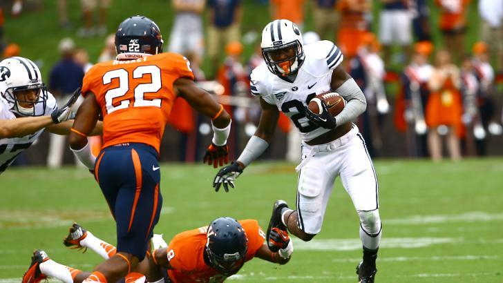 Sophomore running back Jamaal Williams lead BYU with 33 rushes and 144 yards in a hard-fought 19-16 loss to Virginia in Charlottesville in the season opener. (Photo by Mark Philbrick/BYU Photo)