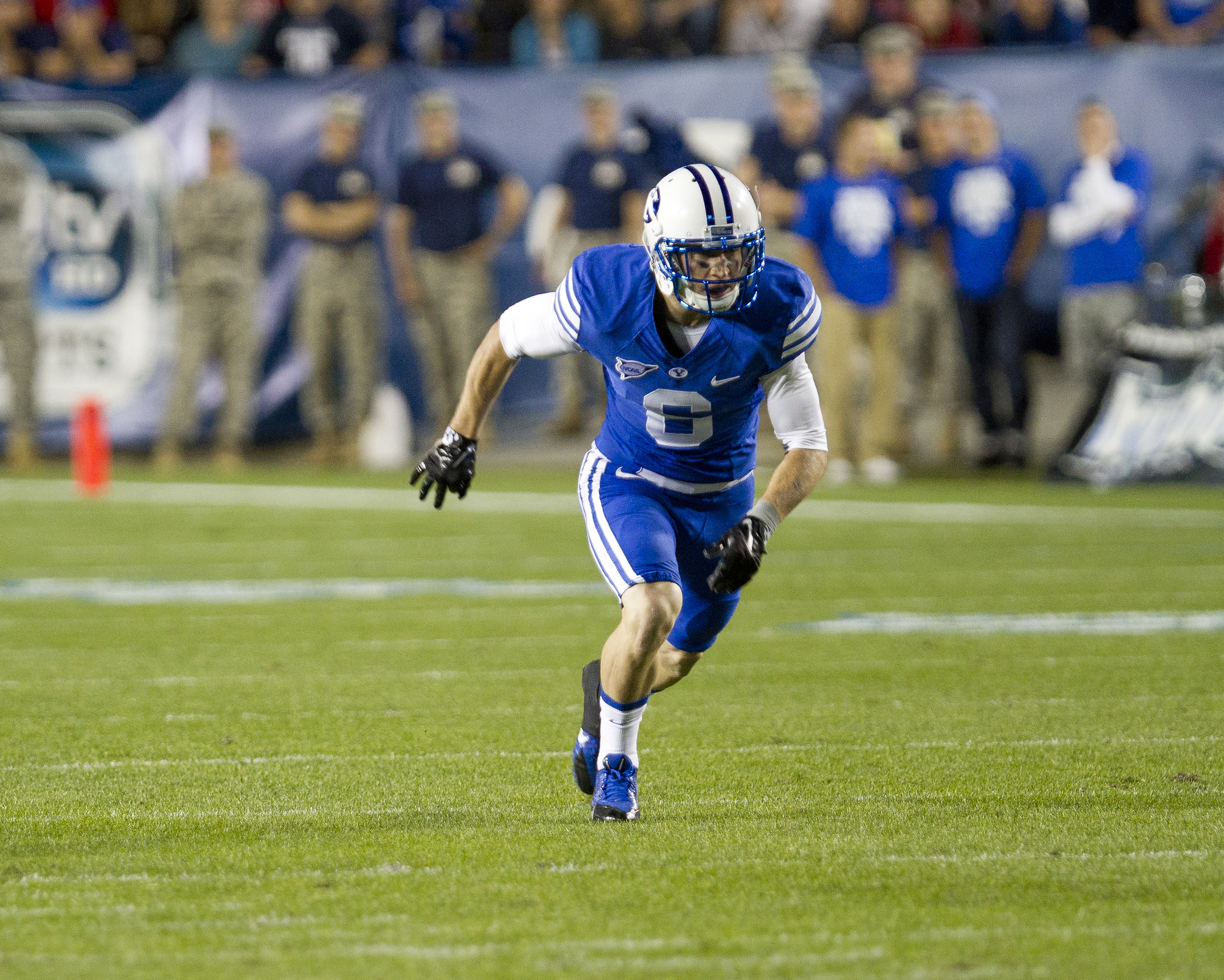 Eric Thornton, once an intramural standout, now plays wide receiver for the BYU football team. Photo by Sarah Hill.