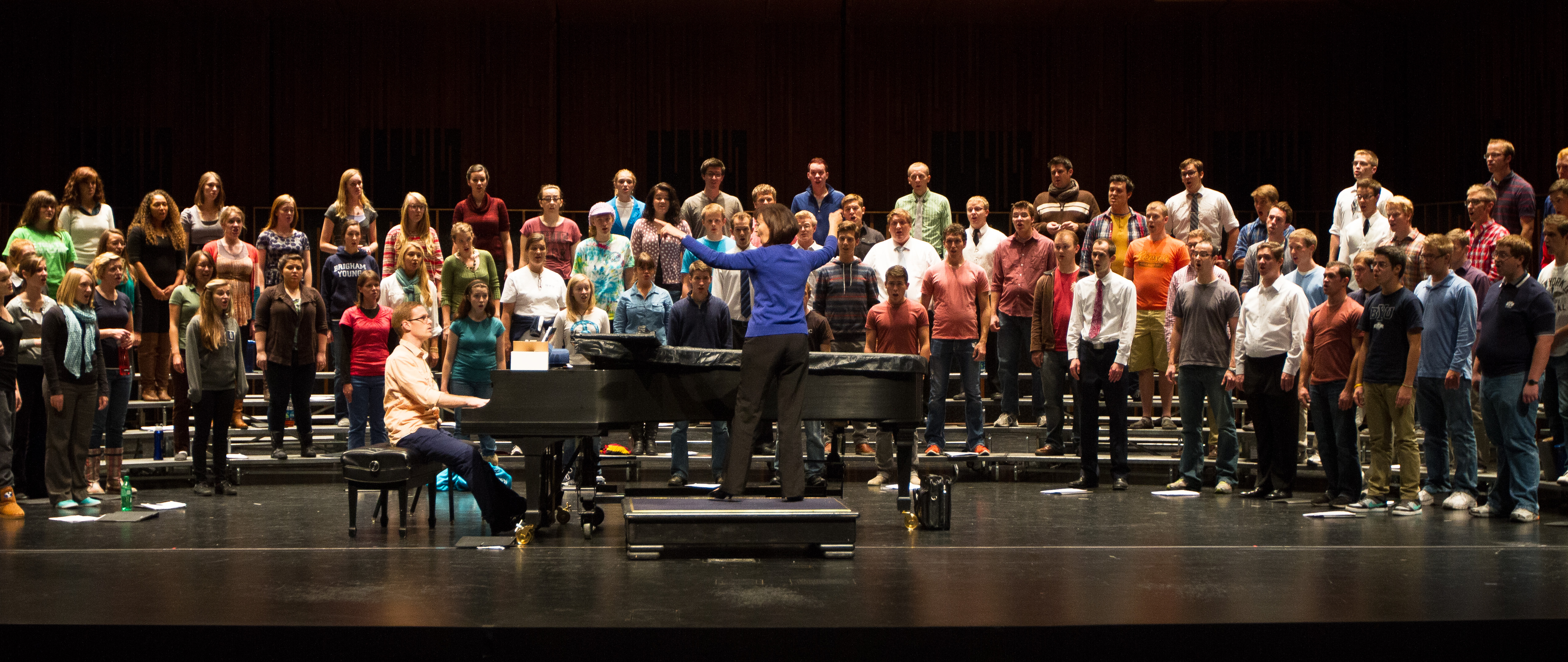 Sister Hall conducts the Concert Choir during a rehersal on Thursday afternoon.