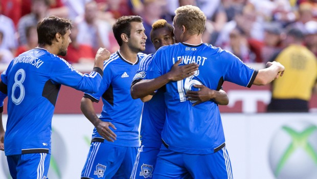 San Jose forward Steven Lenhart notched two goals, both with his head, to lift his team over RSL on Sept. 21.