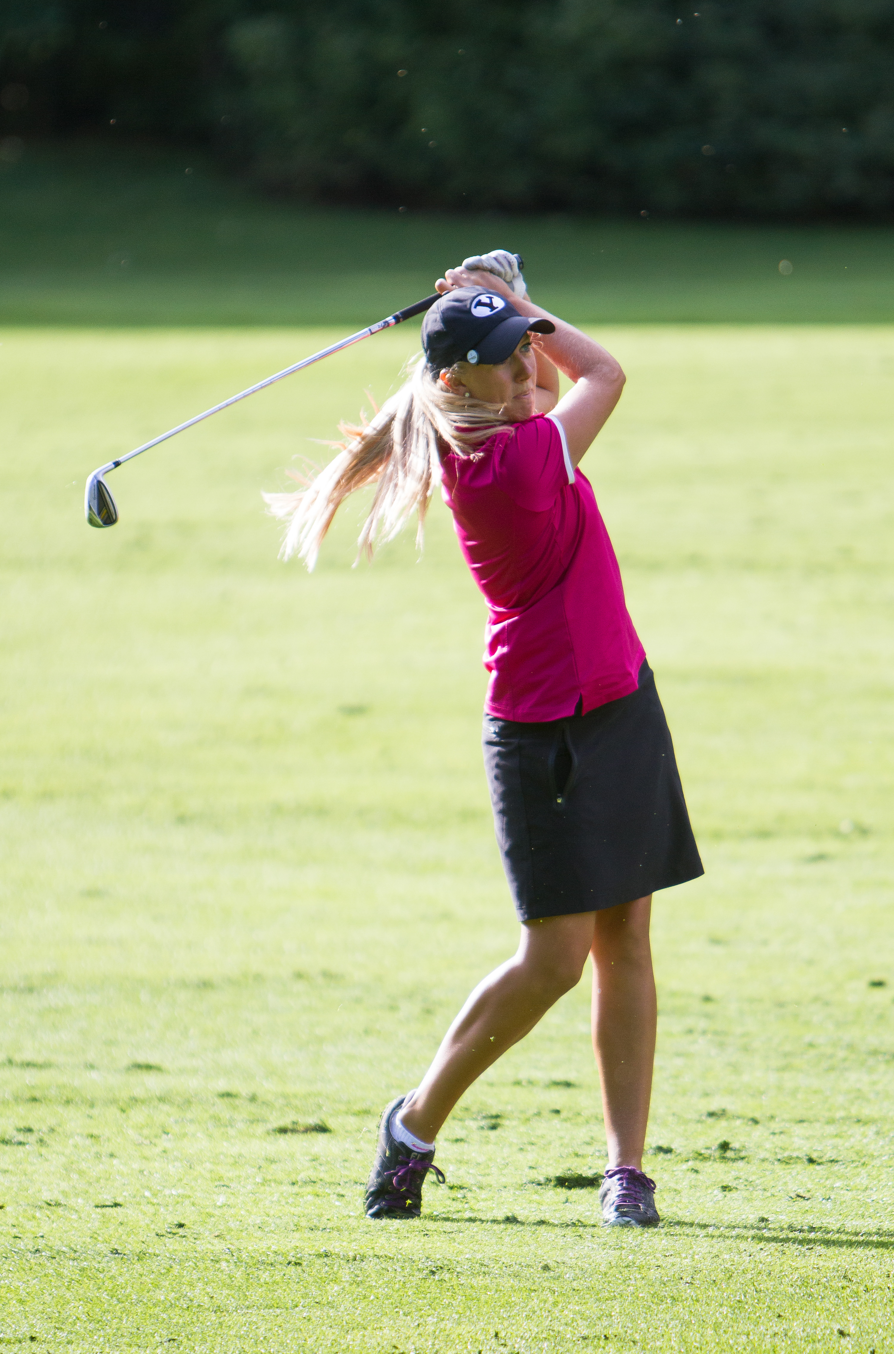 Brooklyn Anderson competes at the Hobble Creek Golf Course on Monday morning. (Photo by Sarah Hill.)