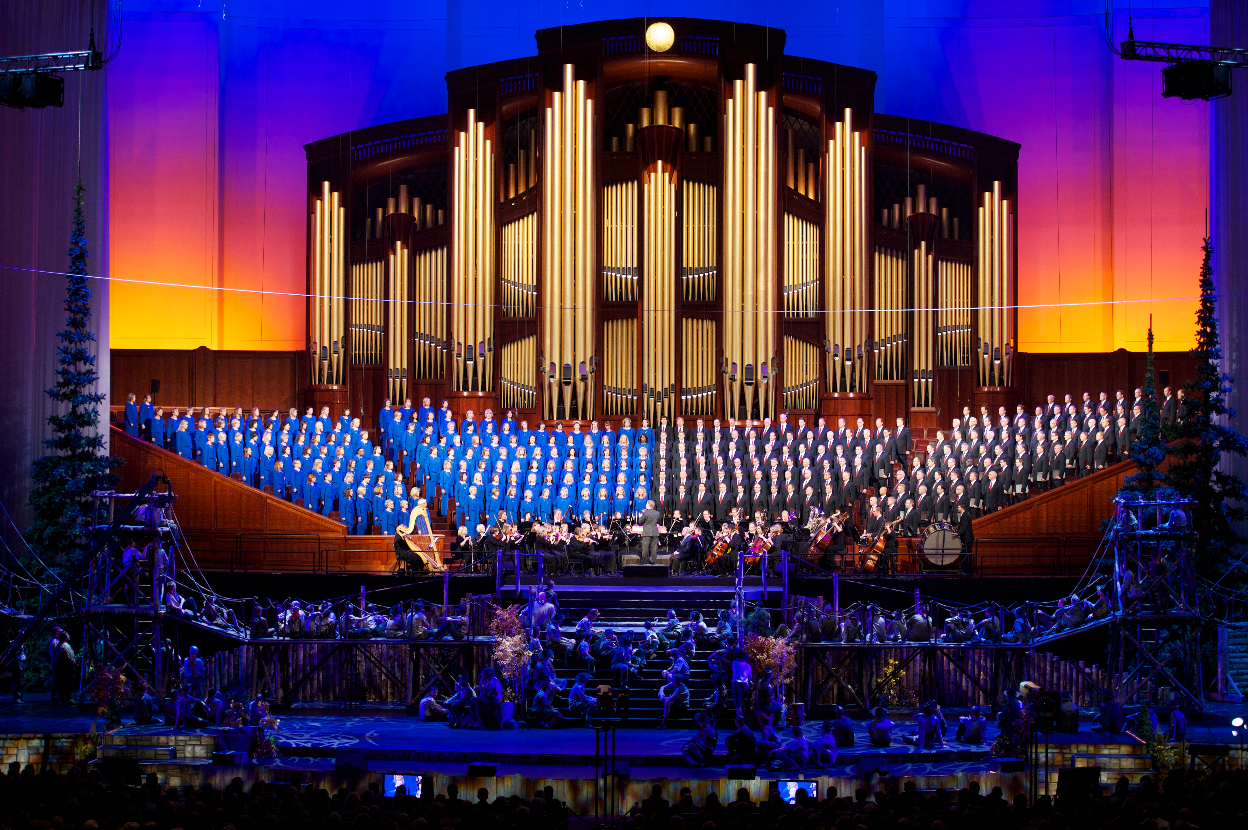 """The Mormon Tabernacle Choir and Orchestra at Temple Square treat the audience of """"A Century of Honor"""" to several songs during the conclusion of the program. Photo courtesy Mormon Newsroom."""