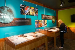 """The new third floor exhibit, """"Card's Game: Orson Scott Card in the Library"""" coincides with movie release. Photo by Sarah Hill."""