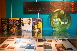 """Cover art of Ender's Game  at the new library exhibit """"Card's Game: Orson Scott Card at the Library."""" Photo by Sarah Hill."""