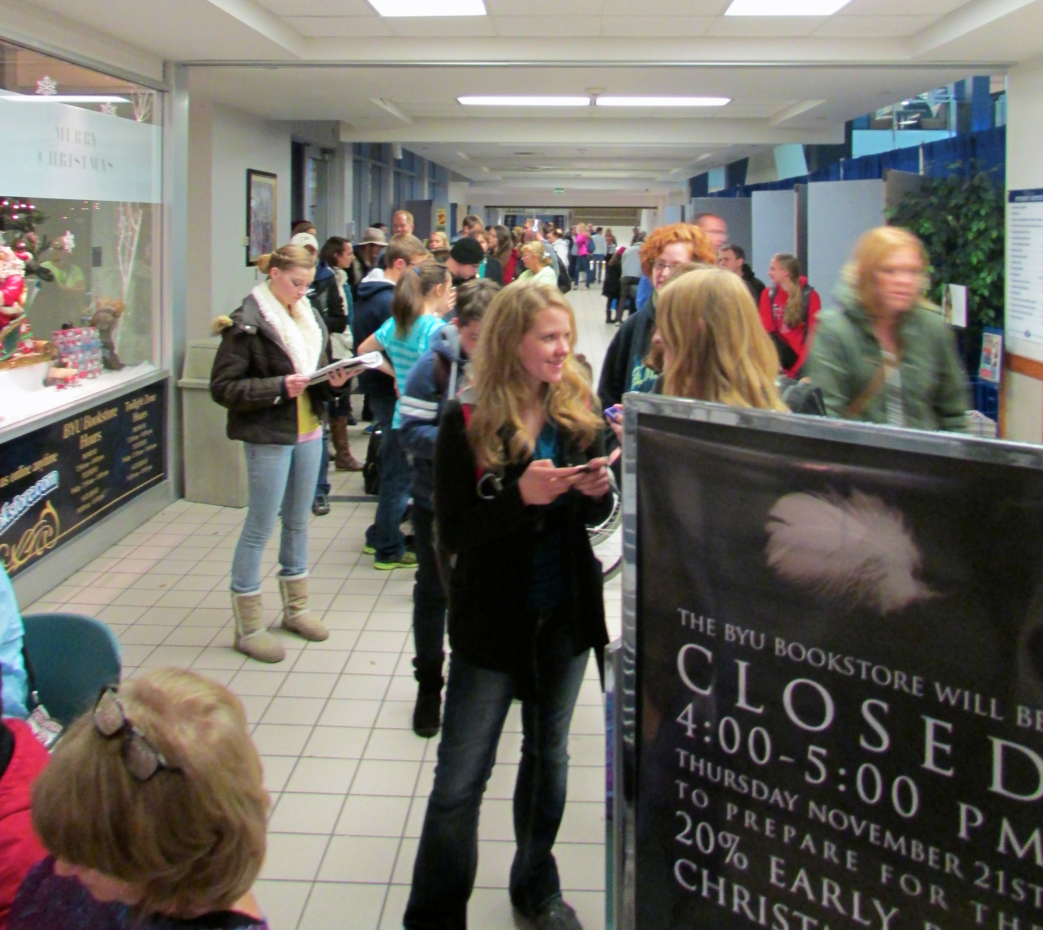 Crowds gathered and lines formed while anxiously awaiting the start of the Early Christmas Sale at the BYU Bookstore.