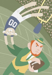 BYU Athletics is following after the Notre Dame model of success. Illustration by Matthew Shipley.
