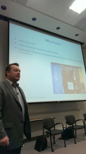 Google representative John Richards explains why Provo was chosen for Google Fiber. Photo by Kyrene Gibb.