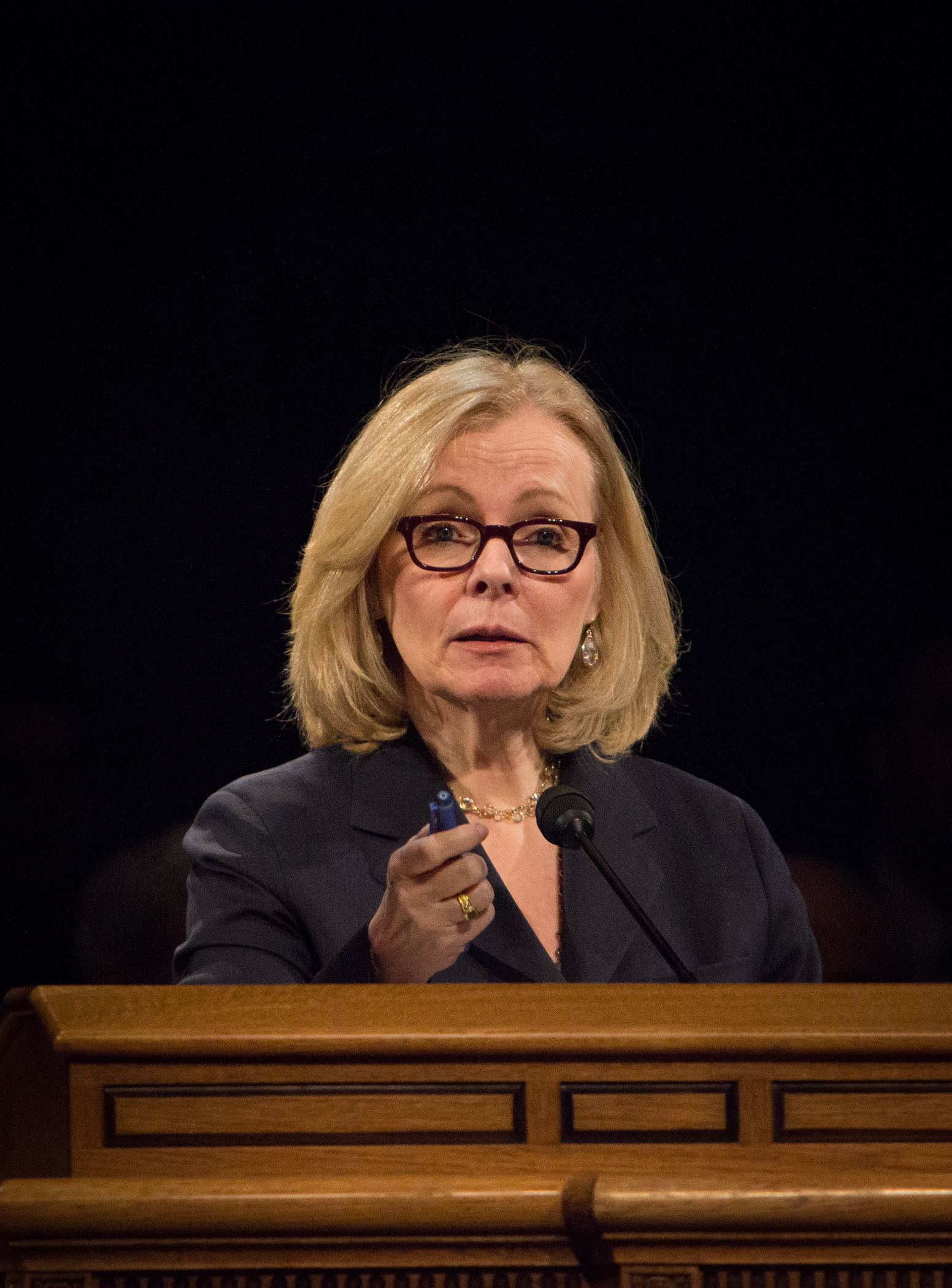 Peggy Noonan addressed BYU students and faculty about leadership through the eyes of the past five presidents of the United States. Photo by Samantha Williams