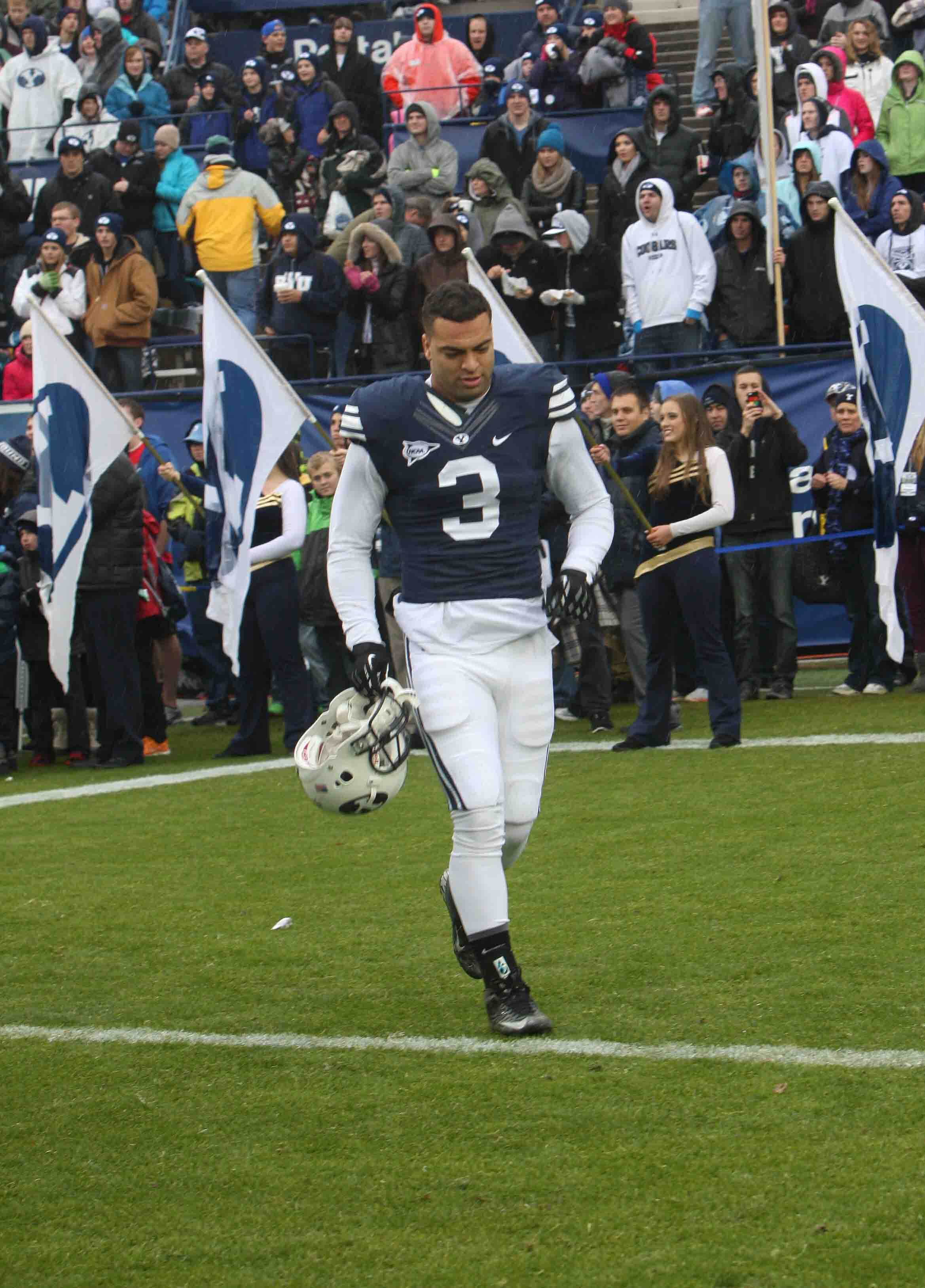Kyle Van Noy walks onto the field during senior day celebrations. Photo by Ari Davis.