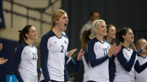 Teammates celebrate during the volleyball team's dramatic three set win over Loyola Marymount on Thursday. Photo by Todd Wakefield/ BYU Photo