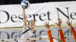 Jessica Jardine spikes the ball during a home game this season. Photo by Bella Torgerson/ BYU Photo