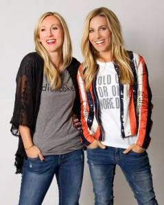Laura Ek (left) and Summer Thacker modeling designs from their new t-shirt line, Salt & Pepper Tees.  Their tees are fun and casual while maintaining high-quality, making them a staple in any women's wardrobe. (Photo courtesy of Benny Ek.)