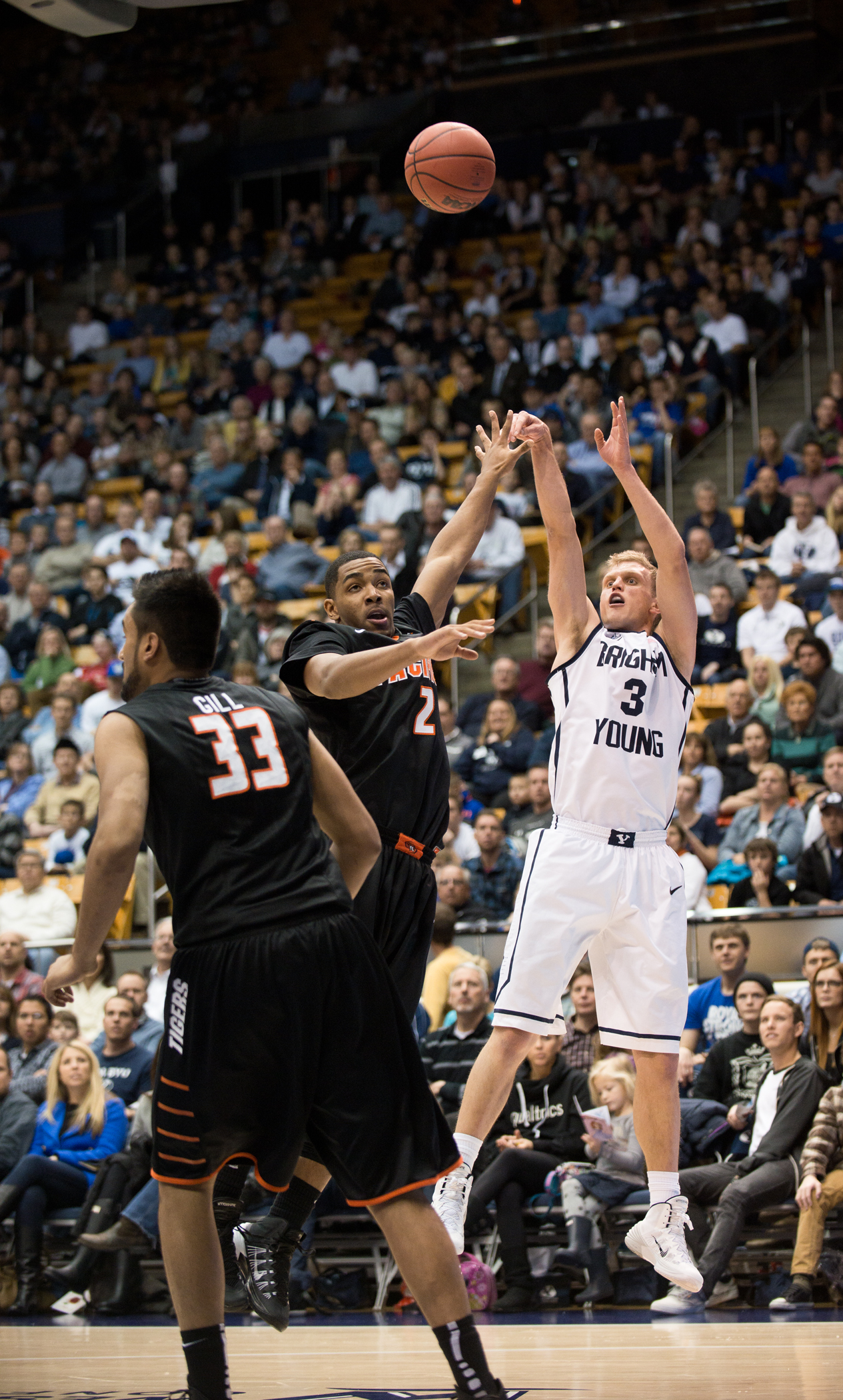 Tyler Haws shoots the ball during Thursday's game in the Marriott Center against Pacific. Haws led the Cougars with 38 points. Photo by Sarah Hill.