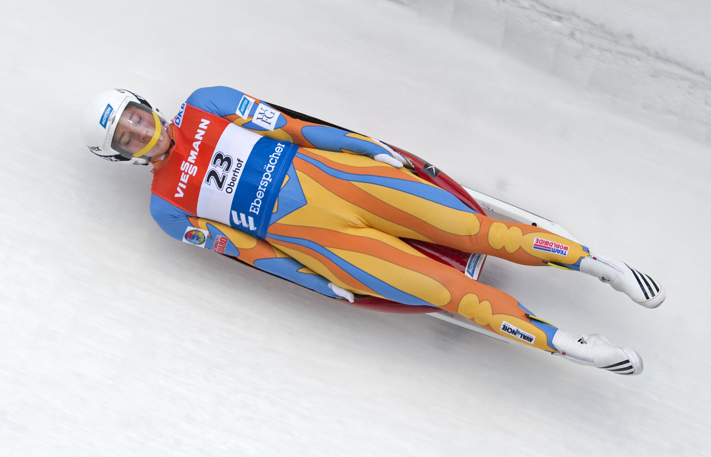 Kate Hansen of the U.S. speeds  during the first run of the women's luge World Cup race in Oberhof, Germany, Saturday, Jan. 11, 2014. Courtesy AP Photo/Jens Meyer.
