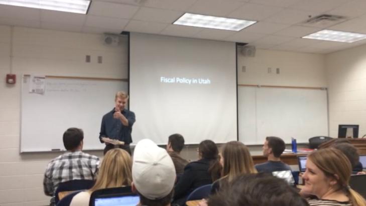Professor Brown teaches students preparing to intern at the Utah legislature.