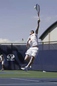 BYU's Francis Sargeant jumps for an overhead shot in previous match against Saint Mary's College.