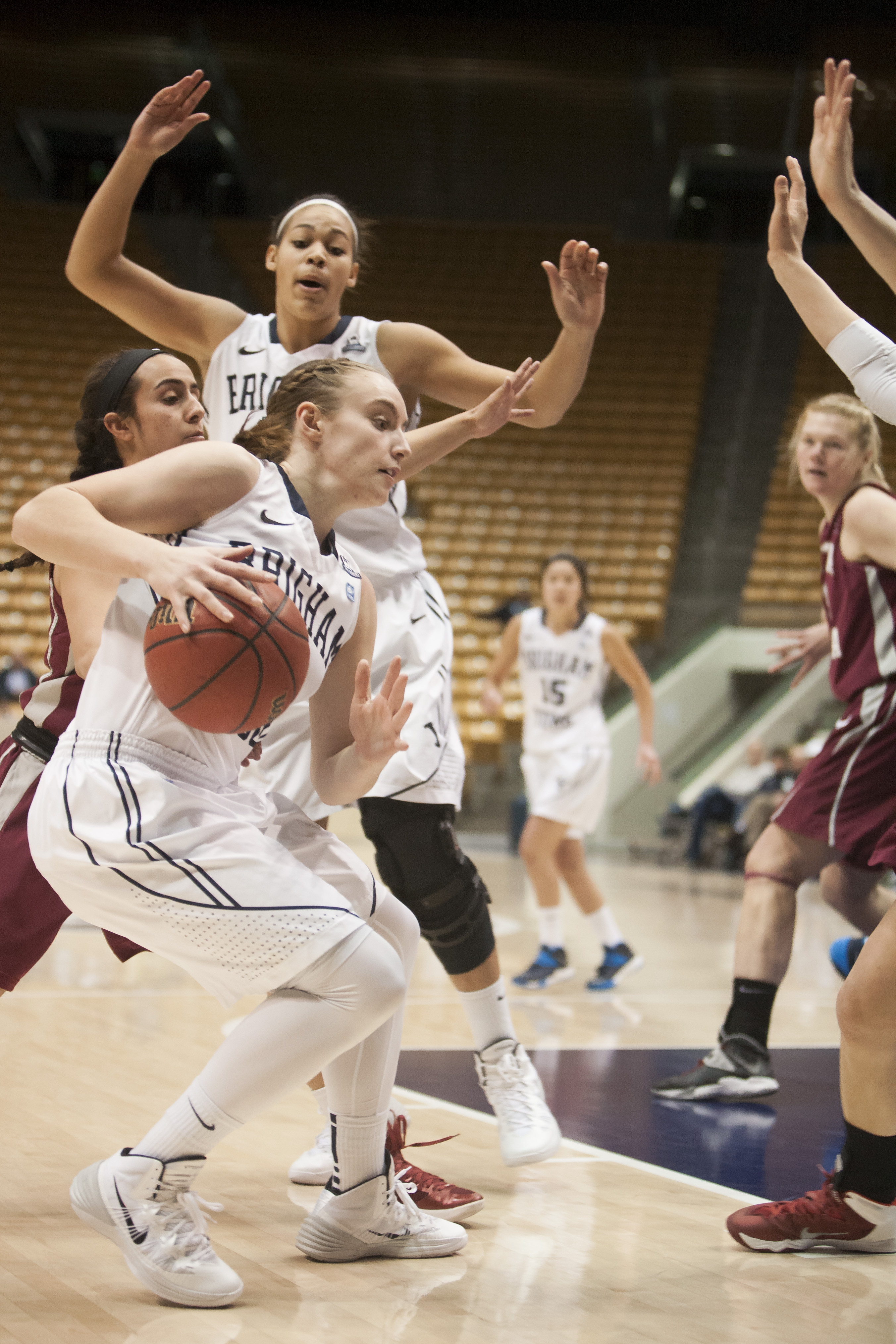 BYU's Lexi Eaton attempts to make her way into the lane for a layup in a game earlier this season. Photo by Universe Photographer.