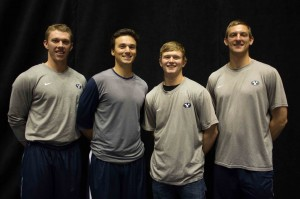 The BYU baseball captains, (from left) Desmond Poulson, Chris Howard, Hayden Nielson, and Brock Whitney look forward to the up coming baseball season