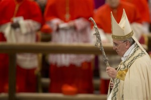 Pope Francis arrives to preside over a Vespers ceremony at Rome's St. Paul Basilica. (Photo Courtesy Associated Press)