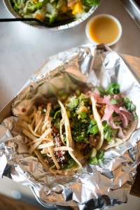The 180 Street Tacos menu features Mexican, Asian, Caribbean and American inspired tacos. Pictured above (left to right) are the Steak Asada, Korean BBQ Pork and Achiote Pork tacos. (Photo by Sarah Hill.)