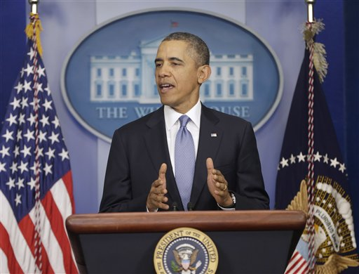 President Barack Obama speaks about Ukraine, Monday, March 17, 2014, in the James Brady Press Briefing Room at the White House in Washington. The president imposed sanctions against Russian officials, including advisers to President Vladimir Putin, for their support of Crimea's vote to secede from Ukraine. (AP Photo)