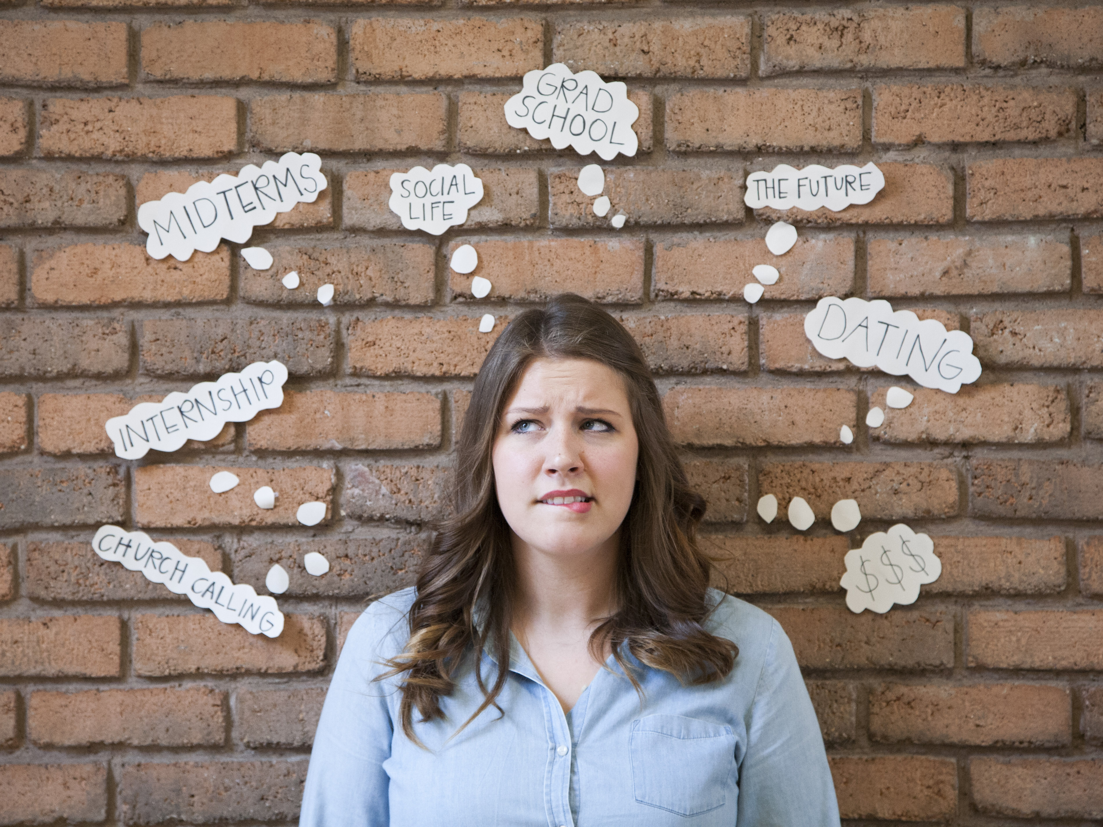 Genevieve Gantt mulls over the parts of her life that stress her out. BYU offers free resources to help combat stress levels.